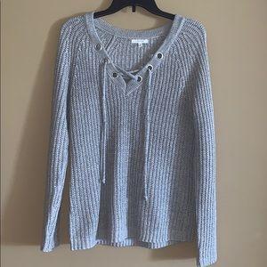 Grey Knit V-Neck Sweater size Large (Maurice's)
